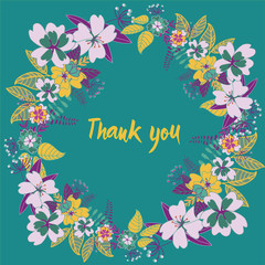Floral wreath with Thank you on the middle. Vector illustration on turquoise background