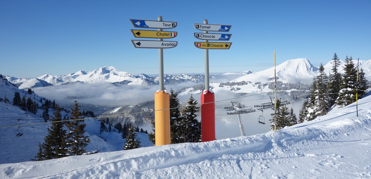 Signs on the ski slopes above Avoriaz in the French Alps
