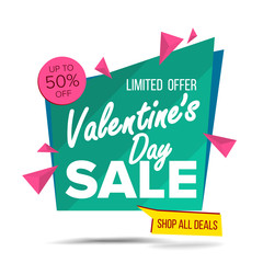 Valentine s Day Sale Banner Vector. Website Sticker, February 14 Web Page Design. Big Super Sale. Online Sales Concept. Isolated On White Illustration