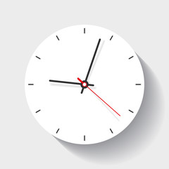 Clock icon in flat style, minimalistic timer on white background. Business watch. Vector design element for you project