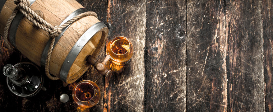 Old barrel with French cognac.