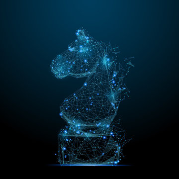Abstract image of CHESS horse in the form of a starry sky or space, consisting of points, lines, and shapes in the form of planets, stars and the universe. Vector strategy concept. RGB Color mode