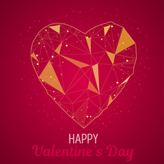 Valentine day greeting card with Golden polygonal heart. Geometric decorative vector illustration for posters on red background