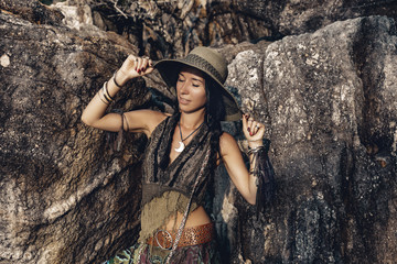 boho style young woman outdoors portrait