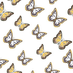 Seamless background from bright butterflies.