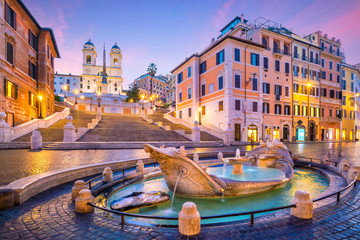 Aluminium Prints Rome Spanish Steps in the morning, Rome