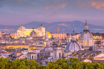 Photo sur Aluminium Rome Top view of Rome city skyline from Castel Sant'Angelo