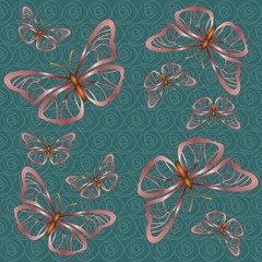 Green background with pink butterflies