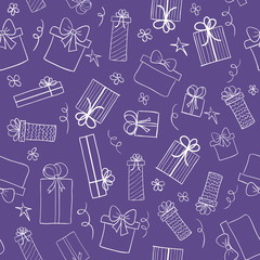 Ultra violet color background with hand drawn gift boxes. Vector seamless pattern