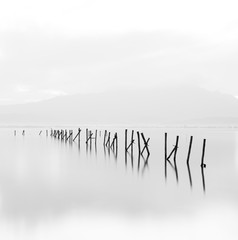 Beautiful long exposure black and white minimalistic scene.