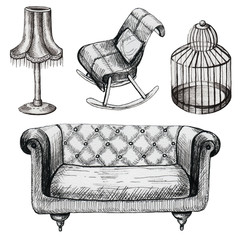 Set of graphic furniture with chair, sofa, birdcage and lamp