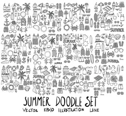 Set of Summer illustration Hand drawn doodle Sketch line vector scribble eps10
