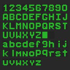 Green LED digital english uppercase, lowercase font, number display on black background