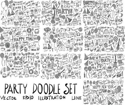Set of Party illustration Hand drawn doodle Sketch line vector scribble eps10