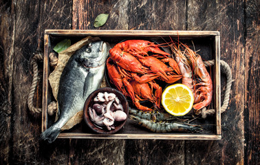 Wall Mural - Seafood in an old tray.