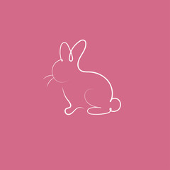 Hand drawn silhouette of rabbit.