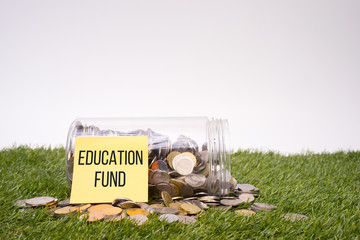 Saving for education fund. Money in a jar. Savings concept.