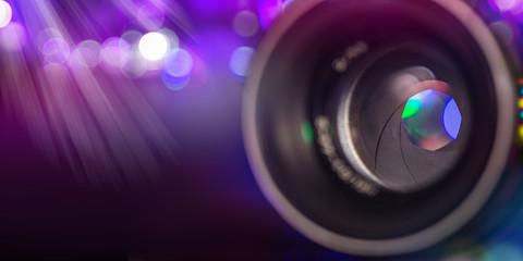 Camera lens with lense reflections, macro shot.
