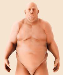 3d illustration Male Fat standing, healthcare medical concept.