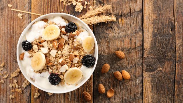 cereal,yogurt and fruit