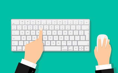 Flat Hands typing on white keyboard with mouse Wall mural