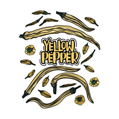 Hand drawn yellow peppers.
