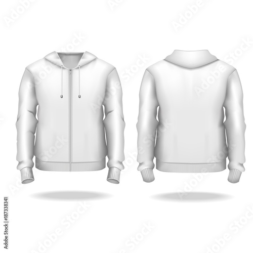 Realistic Detailed 3d Template Blank White Male Zip Up Hoodie Mock Vector