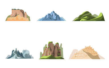 Cartoon Color Nature Landscapes Mountains Set. Vector