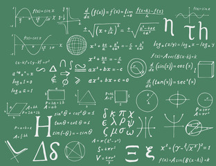 Set of hand drawn mathematical formulas and signs