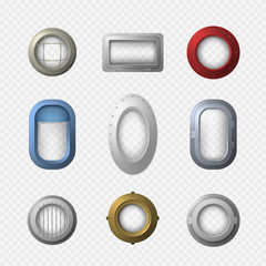 Realistic Detailed 3d Portholes Icons Set. Vector