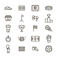 Soccer Game Signs Black Thin Line Icon Set. Vector