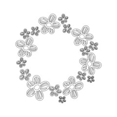 line circle rustic flowers with petals decoration