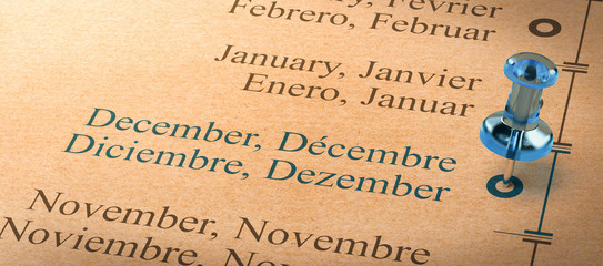Focus on december, Months of the Year Calendar