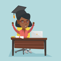 Young african-american graduate sitting at the table with laptop and diploma. Excited graduate celebrating the graduation of online educational institution. Vector cartoon illustration. Square layout.