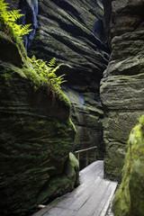 narrow path in Adrspach- beautiful rocky town in Sudety, Czech Republic
