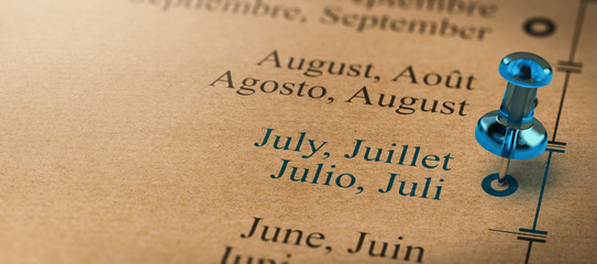 Focus on July, Months of the Year Calendar
