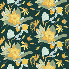Bright Yellow Flower Seamless Vector Pattern