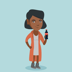 African-american woman holding fresh soda beverage in a glass bottle. Full length of young cheerful woman standing with a bottle of soda. Vector cartoon illustration. Square layout.