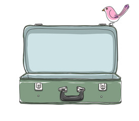 green vintage Suitcase and cute bird Storage Luggage Empty and open hand drawn vector art illustration