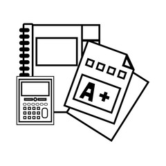line notebook and calculator object with qualification education