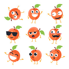 Funny peach - vector isolated cartoon emoticons