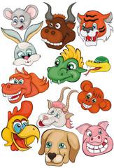 Set. Heads of animals. Chinese horoscope. Cartoon style. Clip art for children.