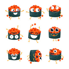 Funny sushi with red caviar - vector isolated cartoon emoticons