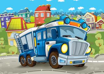 cartoon scene with police truck on the street - illustration for children