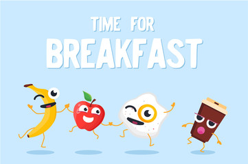 Time for breakfast - modern vector colorful illustration