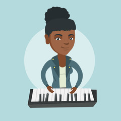 Young african-american musician playing the piano. Smiling pianist playing the upright piano. Female pianist playing the synthesizer. Vector cartoon illustration. Square layout.