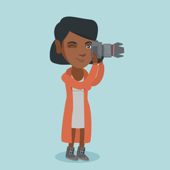 Young african-american photographer taking a photo. Female photographer taking a picture. Full length of a photographer working with a digital camera. Vector cartoon illustration. Square layout.
