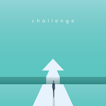 Business challenge concept with businessman walking towards gap. Symbol of success, opportunity, overcoming, ambition and courage.