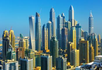 Amazing rooftop view on Dubai Marina skyscrapers, Dubai, United Arab Emirates