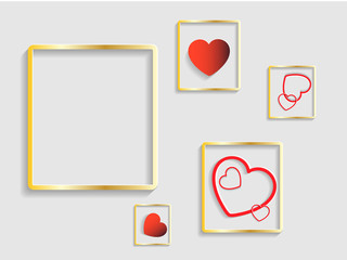 Frame for valentine concept. Template of heart shape vector. Vector illustration